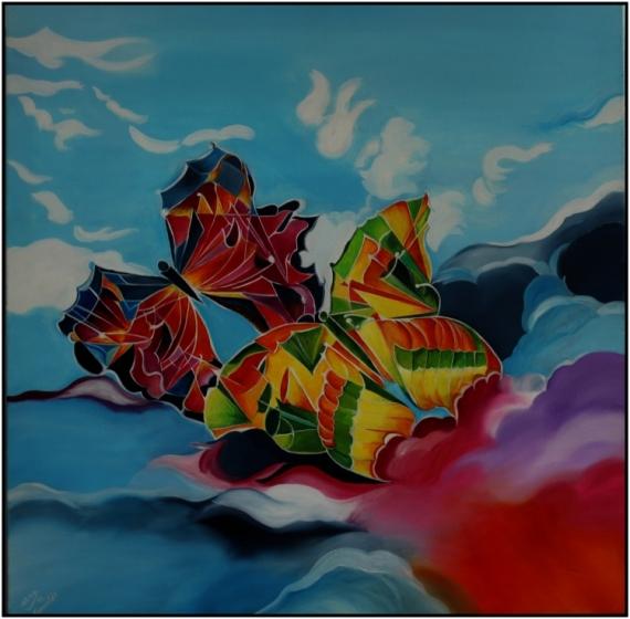 """TABLEAU PEINTURE papillon bleu envolée Peinture a l'huile  - """"L'Envolée"""""""