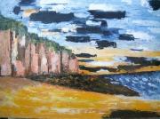 tableau marine mer falaises normandie huile : falaises