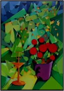 """tableau abstrait fleurs abstrait vert : """"Le Pot de Géranium"""""""