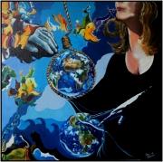 "tableau scene de genre bleu femmes terre : ""Septique"""