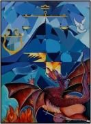 """tableau scene de genre bleu volcan dragon : """"Sur et sous le Volcan"""""""