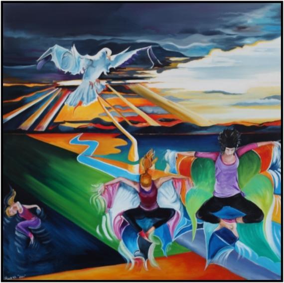 TABLEAU PEINTURE dance paysage zen Scène de genre Peinture a l'huile  - Zen