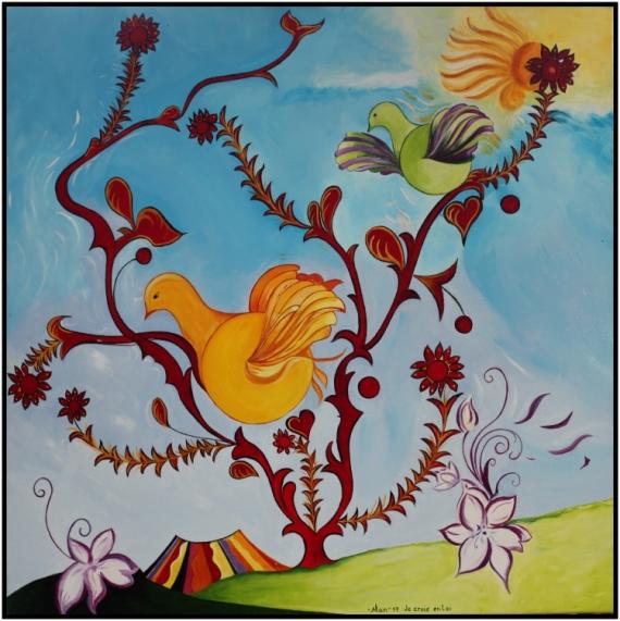 """TABLEAU PEINTURE arbre oiseaux amour Peinture a l'huile  - """"Je Crois en toi"""""""