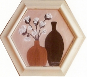 tableau fleurs sobriete relief original decoratif : Fleurs de coton