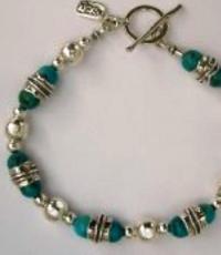 Bracelet en argent et turquoises