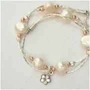 bijoux fleurs bracelet argent fleur perles : Bracelet feuilles en argent