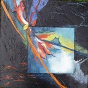 tableau abstrait abstrait collage deco feuille : Les 3 folies N°1