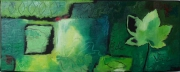 tableau nature morte feuilles vert nature deco : Feuille de vie