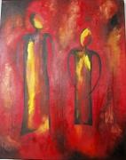 tableau personnages rouge femmes silhouette jaune : Les 2 mystiques