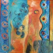 tableau abstrait orange bleu abstrait maison : Cité insolite
