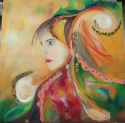 tableau personnages visage oranges dentelles collage : Méditation