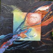 tableau abstrait abstrait collages deco feuille : Les 3 folies N°2