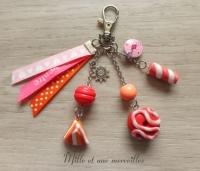 Bijoux de sac FIMO berlingots donuts rose rouge orange