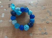 Bracelet FIMO pelotes dégradé de bleues