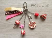 Bijoux de sac FIMO berlongots gourmandise rose poudré  et rouge