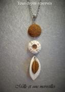 bijoux collier marin pendentif oursin pate polymere modele unique : Collier gamme minérale n°8