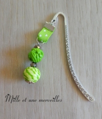 Marque page perles verts