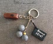 bijoux sport petanque cadeau fete des pere triplette cochonnet : Porte-clé FIMO pétanque sacoche triplette bonne fête