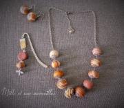bijoux bijoux en pate polym parure chic idee cadeau femme : Collier et boules d'oreilles en perles fimo