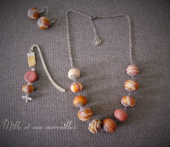 BIJOUX Bijoux en pâte polym parure chic idée cadeau femme  - Collier et boules d'oreilles en perles fimo