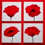 tableau fleurs superposition fleurs coquelicots : COQUELICOTS 5 TOILES