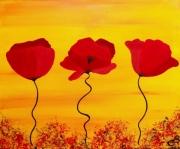 tableau fleurs fleurs coquelicots champetre deco salon : PROMO!!! COQUELICOTS ENSOLEILLES