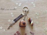 bijoux bijoux de sac portecle idee cadeau petit prix : Porte-clé Fimo tout choco