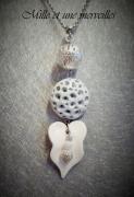 bijoux sautoir fimo gris et blanc ete idee cadeau : Collier gamme minérale n°11