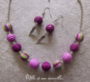 bijoux collier violet pate polymere perles en fimo cadeau : Collier et boules d'oreilles en perles fimo