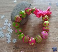 Bracelet FIMO vert et rose