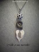 bijoux sautoir fimo feuillle escargot original : Collier gamme minérale n°6