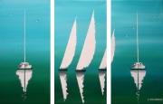 tableau marine voiliers mer triptyque bateaux : BORD DE MER