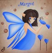 """tableau personnages tableau enfant petite fille elfe papillon decor chambre : """"Elfe Bleue"""""""