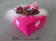 autres boite ,a dent bebe fimo metisse cadeau naissance cadeau anniversaire : Boite à dents rose FIMO petite fille métisse