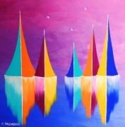 tableau marine bateaux mer voiliers paysage marin colore : VOILES COLOREES