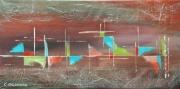 tableau abstrait paysage abstrait multicolore effet relief : HORIZON