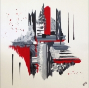 tableau abstrait abstrait noir et rou peinture route deco salon : MELANCOLIE
