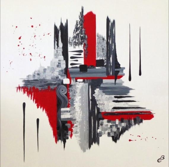 TABLEAU PEINTURE abstrait noir et rou peinture route déco salon Abstrait Acrylique  - MELANCOLIE