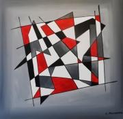 tableau abstrait abstrait noir rouge quadrillage formes geometriques contemporain : DEDALE
