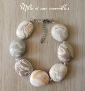 bijoux bracelet pierre fimo beige gris idee cadeau : Bracelet effet pierres précieuses
