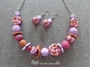 bijoux collier unique original mauve prune brun chic : Collier et boules d'oreilles en perles fimo