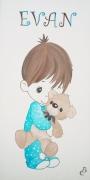 tableau personnages tableau chambre garc decor enfant ourson cadeau naissance : tableau enfant ourson