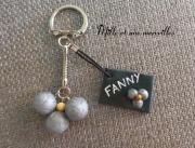 bijoux sport boules de petanques cadeau anniversaire petit prix fete des peres : Porte-clé FIMO pétanque ardoise triplette