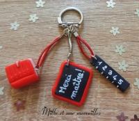 Porte-clé FIMO Merci mâitre rouge et noir