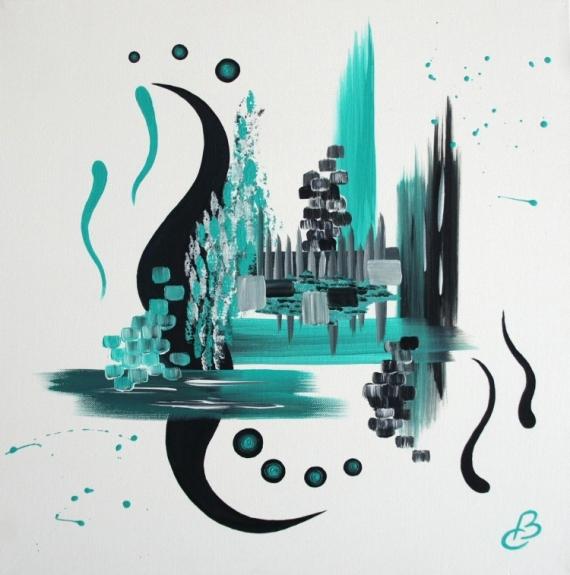 TABLEAU PEINTURE turquoise contemporain Abstrait Acrylique  - L'AZUREEN