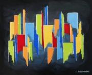 tableau abstrait tableau multicolore bleu rouge jaune noi moderne formes geometriques : COLOR CITY