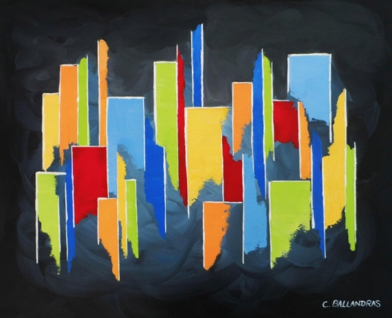 TABLEAU PEINTURE tableau multicolore bleu rouge jaune noi moderne formes géométriques Abstrait Acrylique  - COLOR CITY