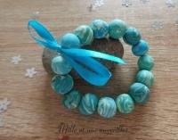 Bracelet FIMO couleur vert d'eau