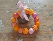bijoux bijoux idee cadeau fete des meres artisanal : Bracelet FIMO orange jaune rose