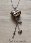 bijoux sautoir fimo coeur original unique : Sautoir steampunk coeur LOVE